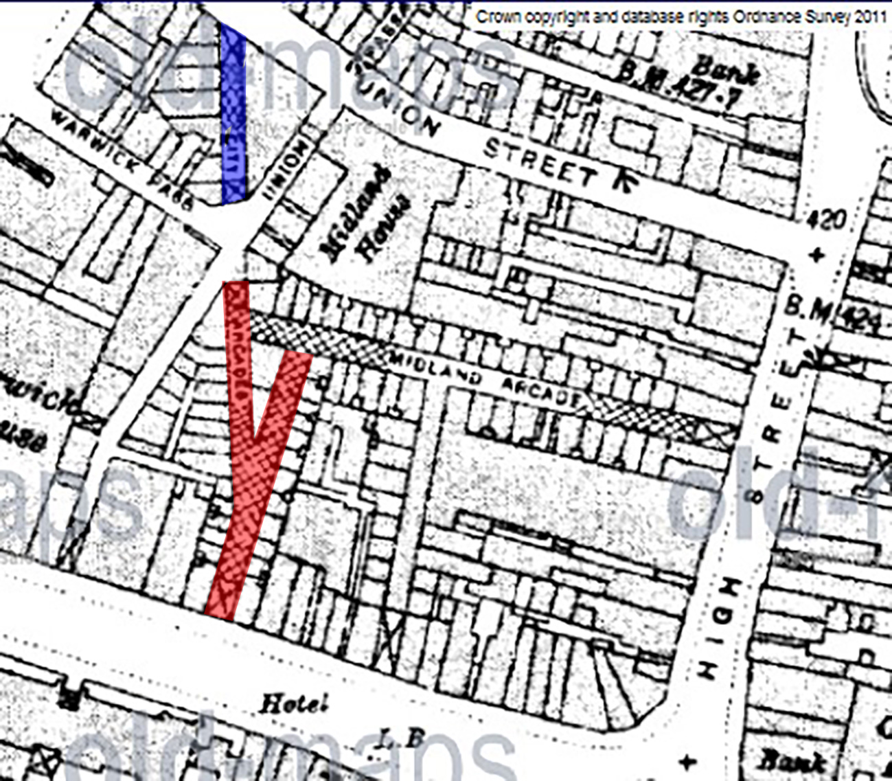 RED INDICATES THE DESTROY SECTION OF CITY ARCADE AND BLUE INDICATES THE REMAINING SECTION