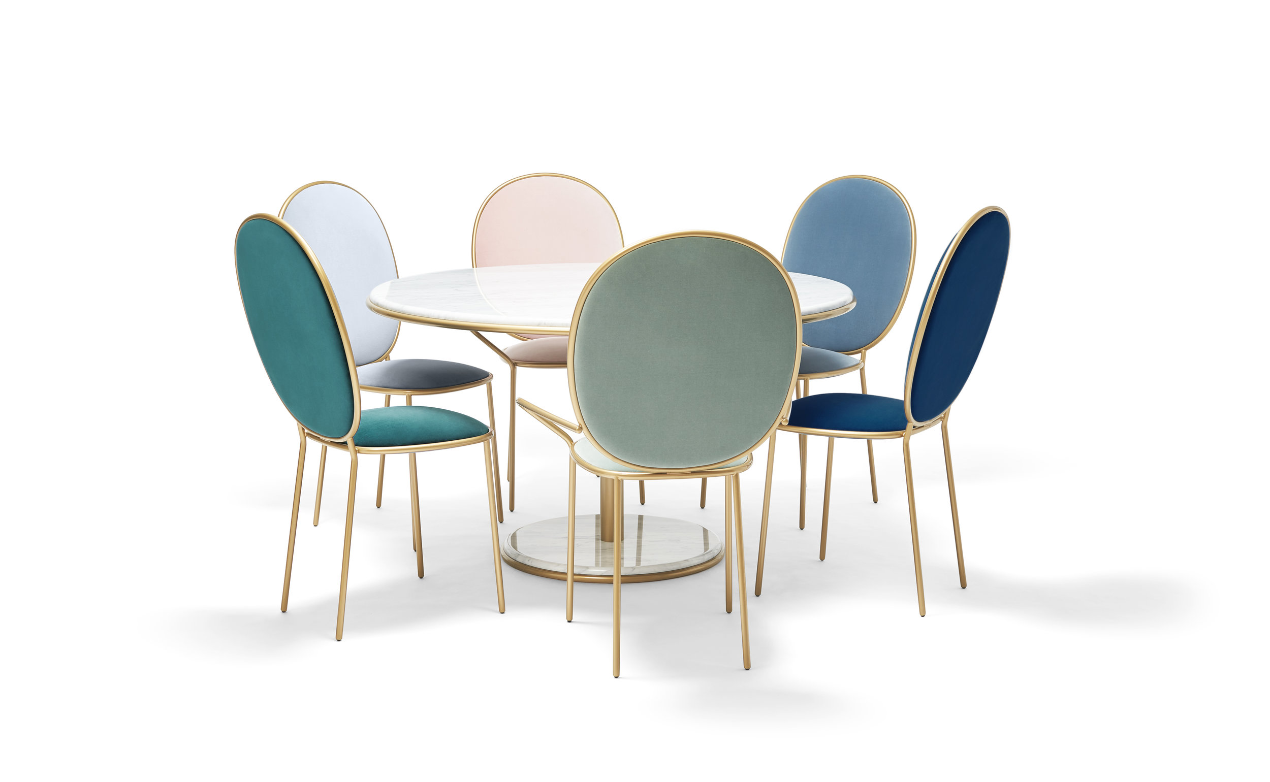 Groupshot Stay Dining Table 1m20 - Carrara, Stay Dining Chairs - Sé Velvet Lago, Indigo, Avio, Pervenche, Ocean, Rose Thé.jpg