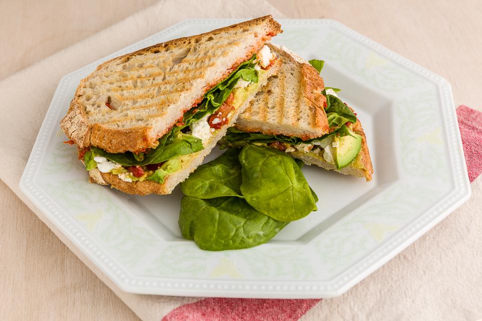 Spinach & Feta Pie, Avocado, Roasted Red Pepper Feta Toastie