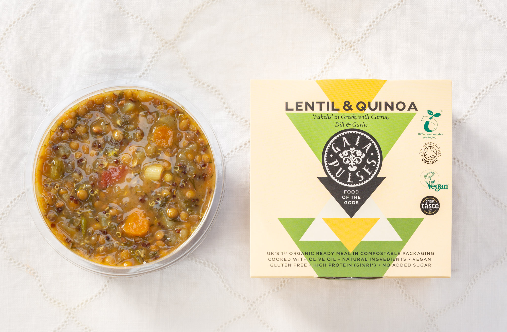 Inspired by 'Fakehs', a typical Greek Lentil stew. The Gaia version is enriched with sprouted Red Quinoa for added protein - Apple Cider Vinegar, Garlic, Extra Virgin Olive Oil, Spring onion, Wild Thyme, Oregano, Turmeric and Dill. This dish is full of Iron, Magnesium, Vitamin C, Protein, Fibre and Antioxidants.