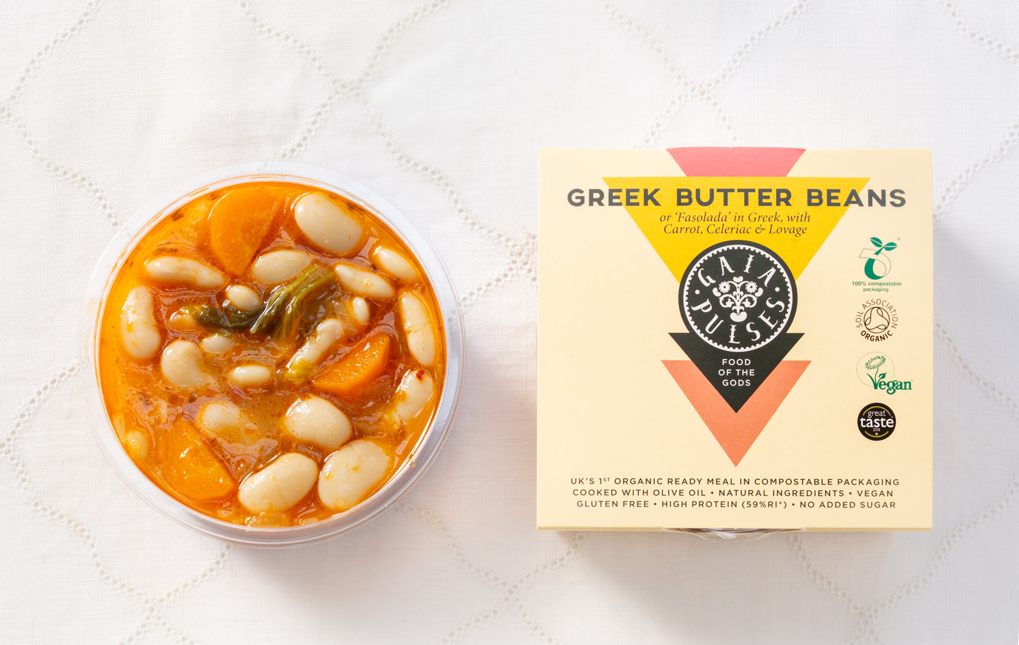 A beautifully made, classic Greek 'Fasolada' with small and sweet, top quality Butter Beans from 'Prespes' and the unique aroma of the rare, UK grown organic Lovage - Celeriac, Tomato, Carrot and Extra Virgin Olive Oil. High on Protein, Folate, B Vitamins and Fibre.