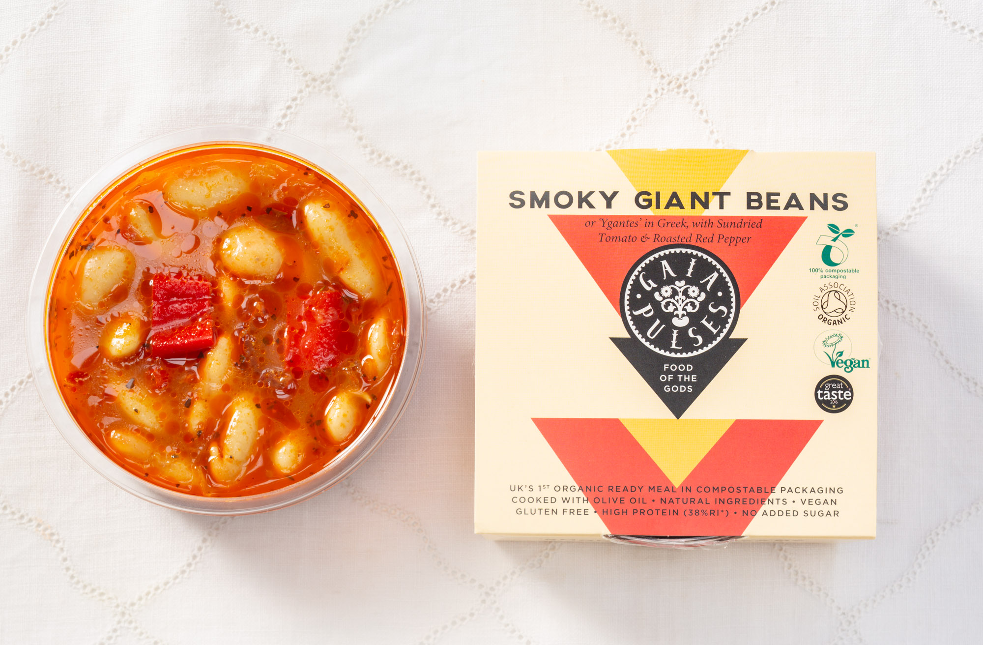 Inspired by 'Gigantes,' a renowned dish from the North of Greece. Gigantes is made with the large Butter Beans that grow in the area - smoked Red Pepper, Sun-dried Tomato, Extra Virgin Olive Oil, Garlic and an array of Mediterranean Spices. High on Protein, Folate, B Vitamins and Fibre.