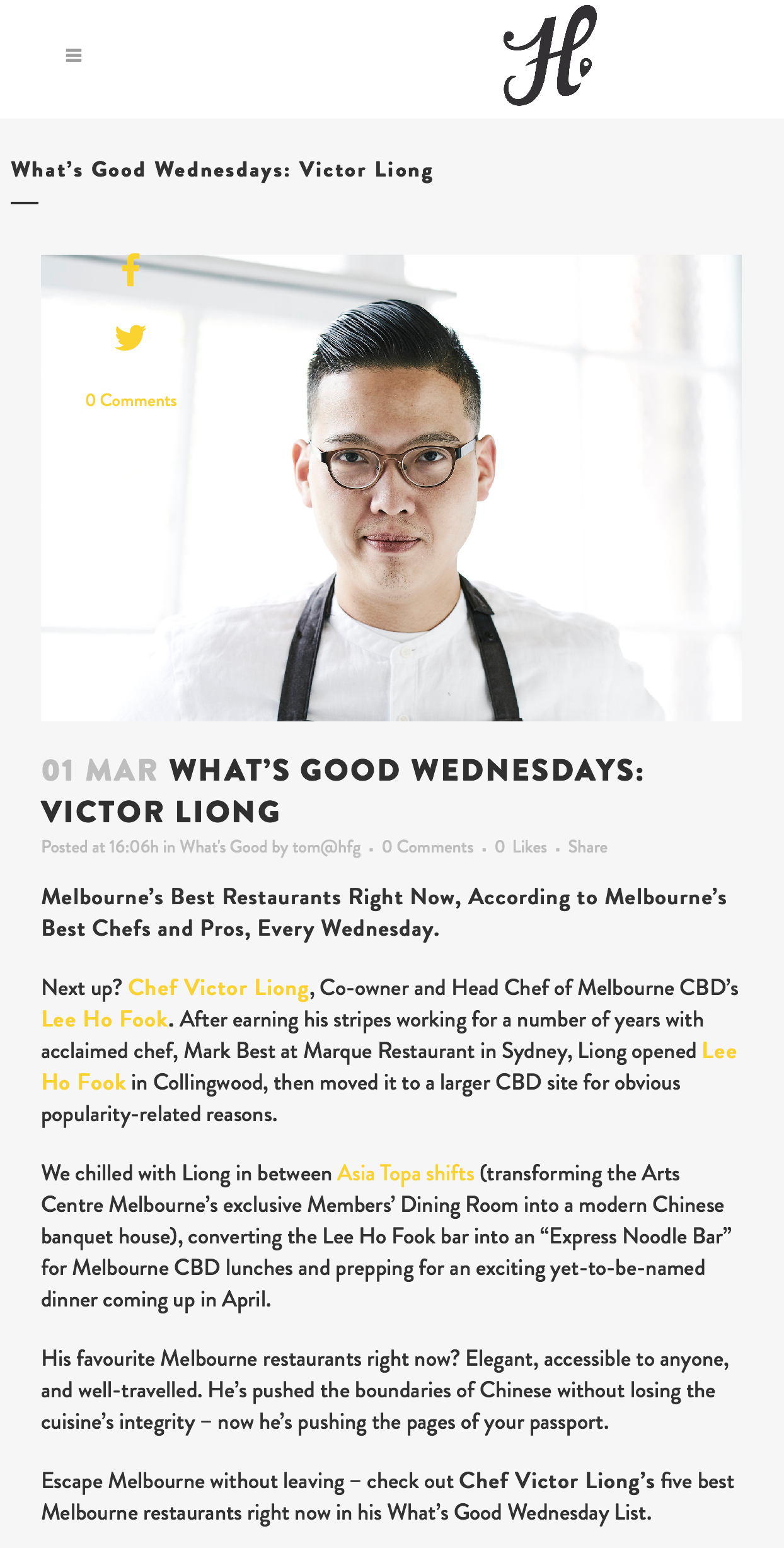 What's Good Wednesdays: Victor Liong [Hood Food Guide]