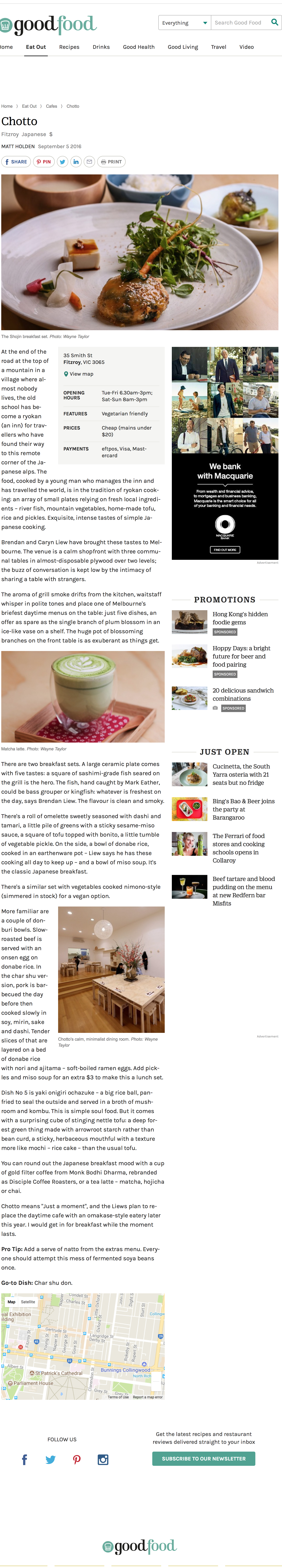 chotto review [The Age, Good Food]