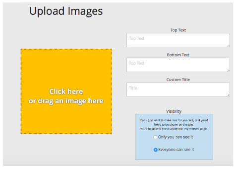 Click the yellow box to upload your photo or image from your computer