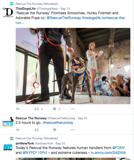 For Rescue the Runway we used a 'countdown' approach and also were sure to retweet any content that mentioned the event, like this tweet from amNewYork. More on how to retweet below