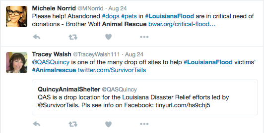 Applying the hashtag '#Louisiana Flood' made it easy for anyone looking to help to search for relevant content
