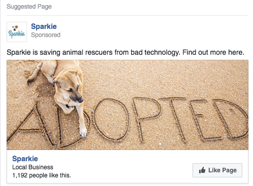The copy is simple and concise, and the image is visually appealing to users when they're scrolling through their newsfeed!