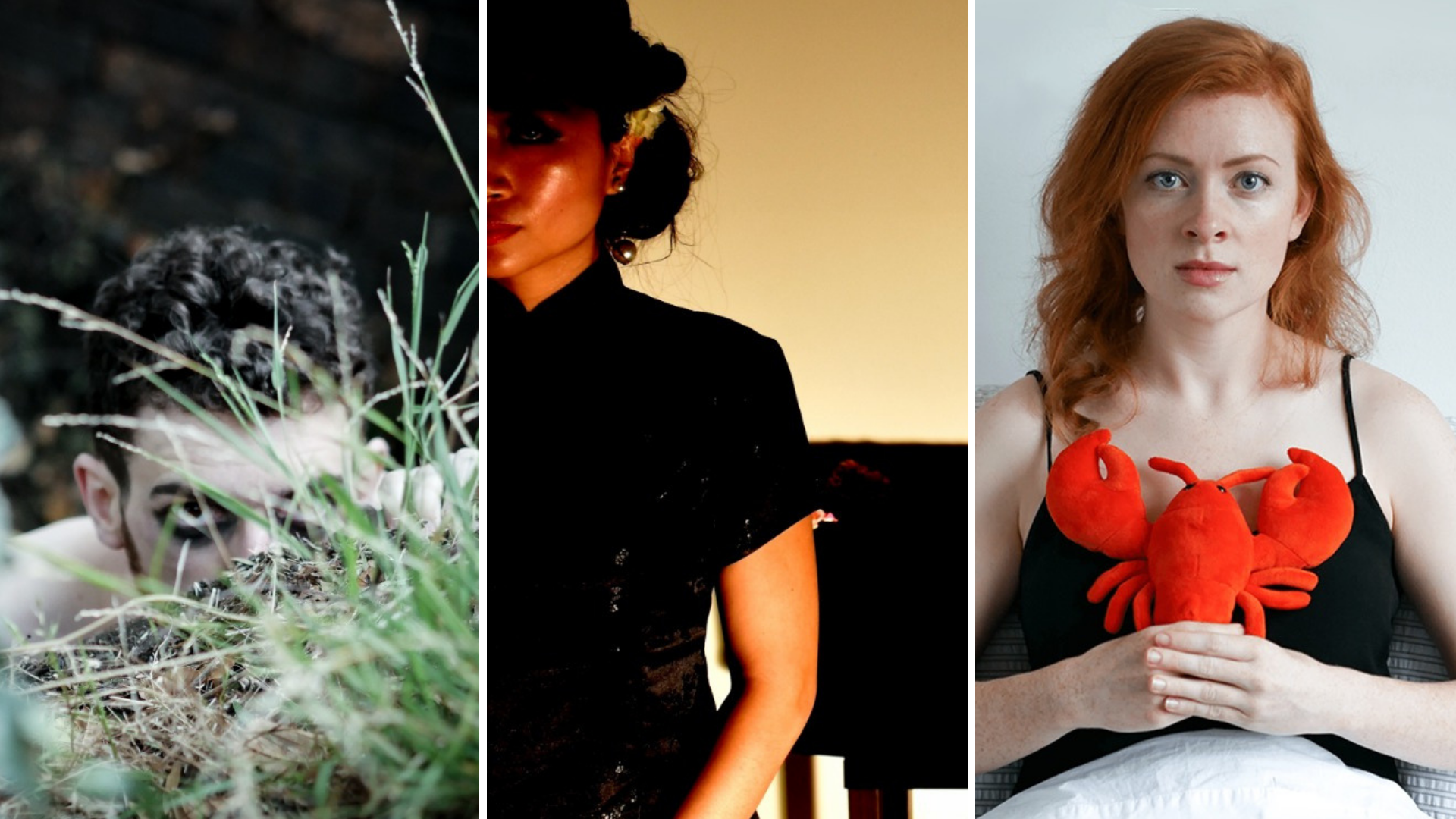 Fine at Fringe grant recipients - Jake Matricardi with 'Gargoyle', Lansy Feng with 'How I Met My Dead Husband', and Spinning Plates Co with 'Ross and Rachel'.