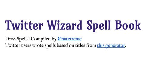 Twitter Wizard Spell Book title