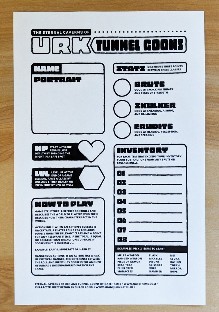 Character Sheet by Shane Long