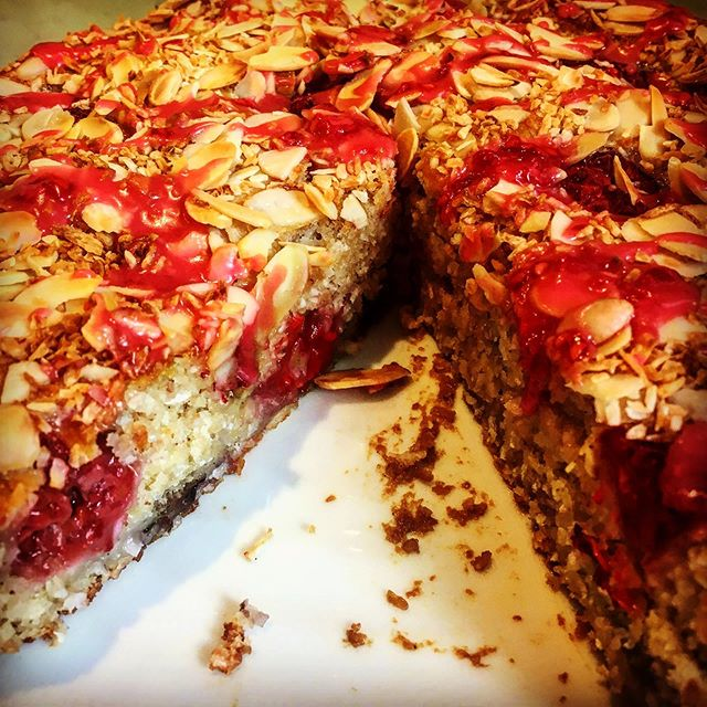 Alison has made this absolutely delicious vegan cake. Coconut and raspberry #vegandelights #madewithlove #alisonbakes #delicious #littleteahouse #parkgate