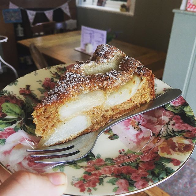 Fancy a slice?  Pear & ginger 🍰  #homemadecake #alisonscakes #pearginger #parkgate #wirral #cheshire #littleteahouse #vintagetearoom #afternoontea #lunch #brunch #coffee #tea