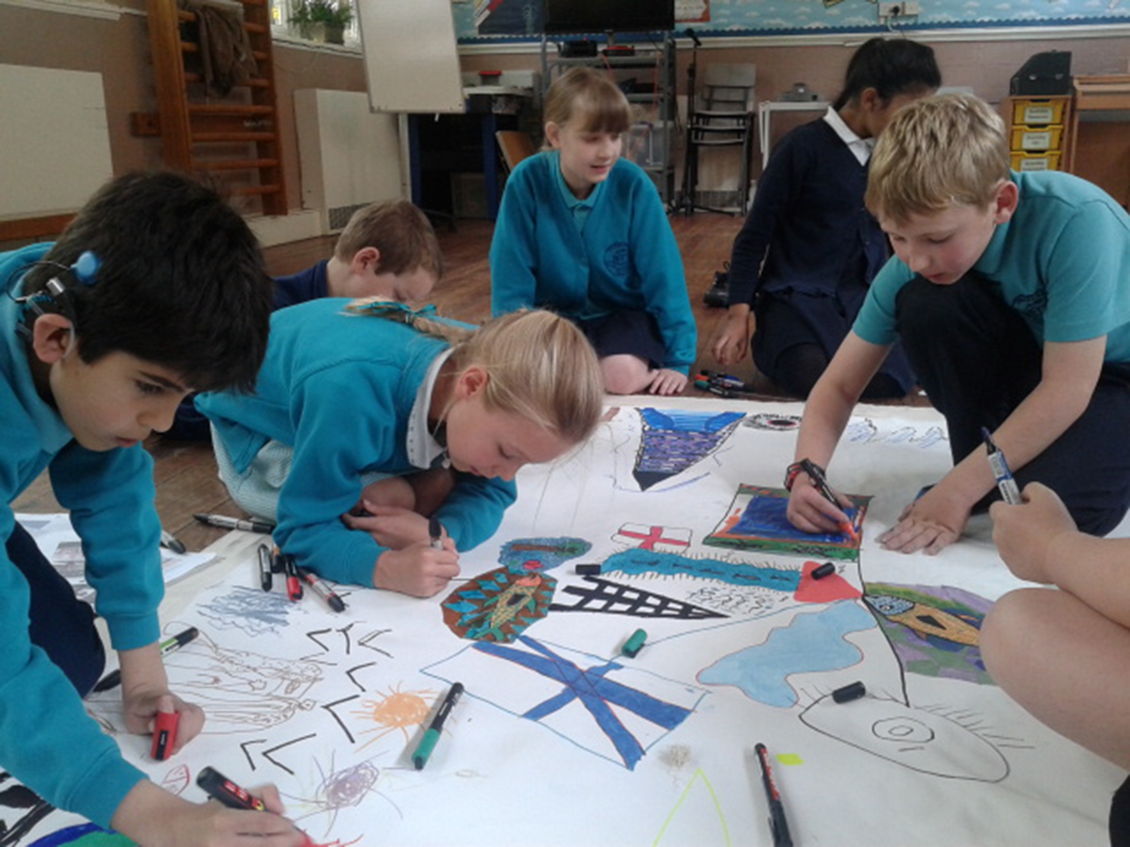 Friezland Primary School pupils working on My Europe project, Manchester, 2014 - 2.jpg