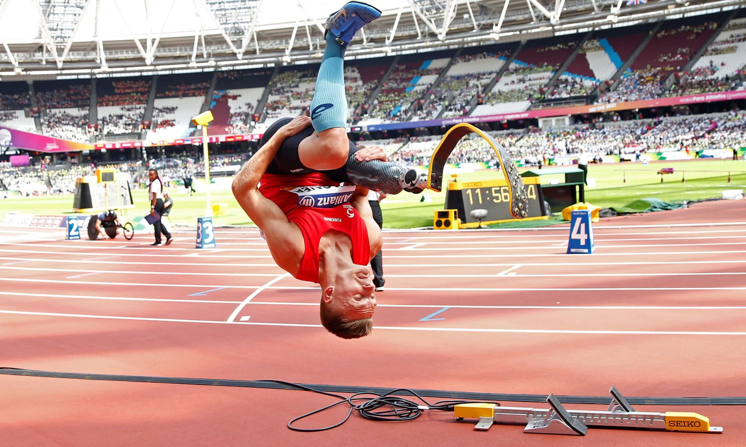 London, England   Denmark's Daniel Wagner celebrates winning the men's T42 long jump at the IAAF World Para Athletics Championships  Photograph: Peter Cziborra/Action Images via Reuters