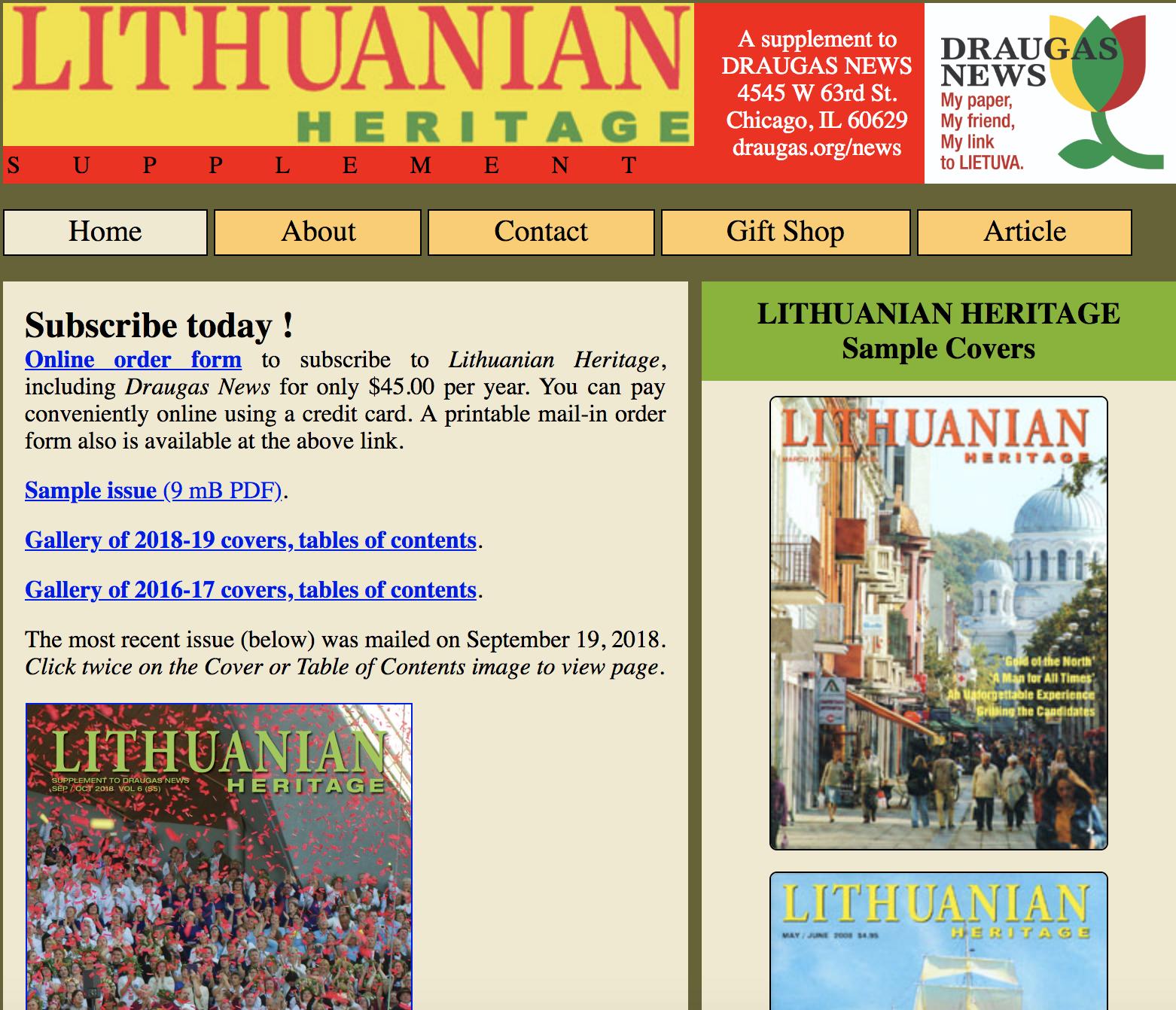 Lithuanian Heritage Magazine