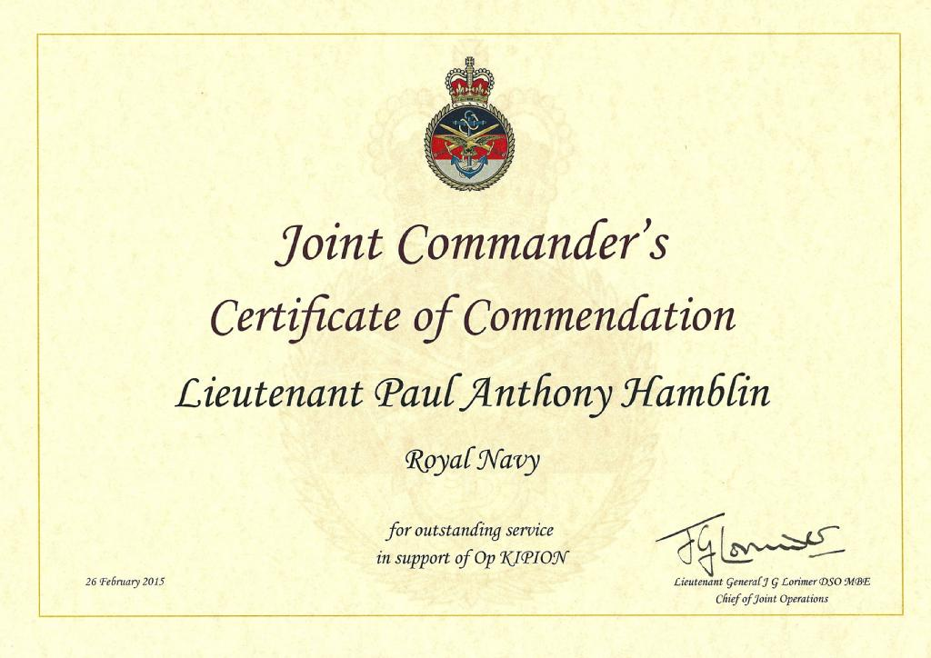 Joint Commander's Commendation, 2015