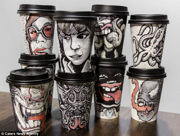 Graphic designer Miguel Cardona has created a range of remarkable images on the side of takeaway coffee cups,.
