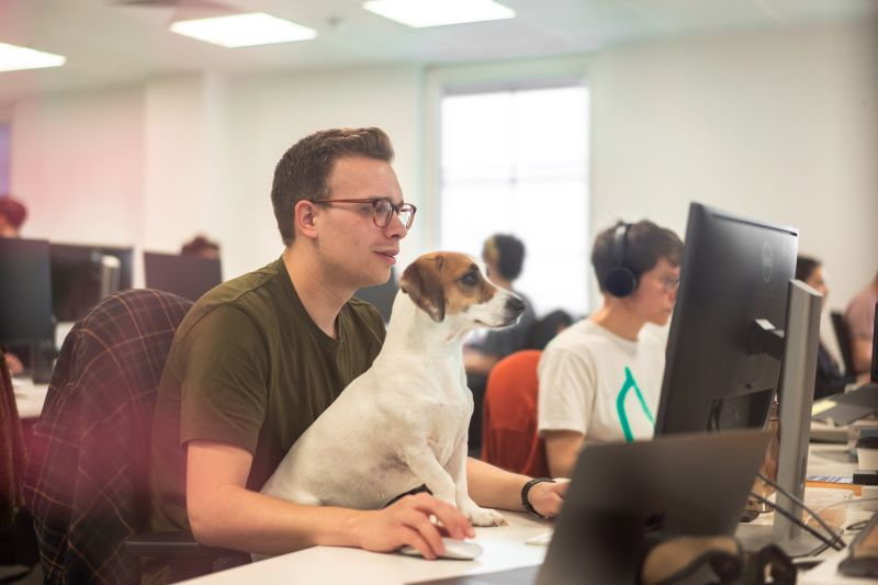 Dominic, with Albie (Jack Russell Dachshund cross), writing words at TrustedHousesitters
