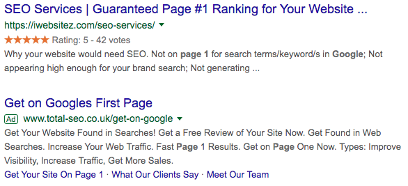 The bottom one really wants you to know they'll get you on page 1!