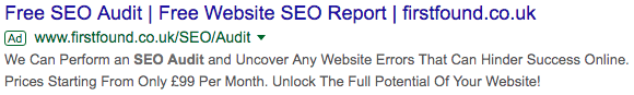 """I have absolutely no idea who these guys are. This was the top ad (after Moz) that came up after I Googled """"seo company free audit"""""""