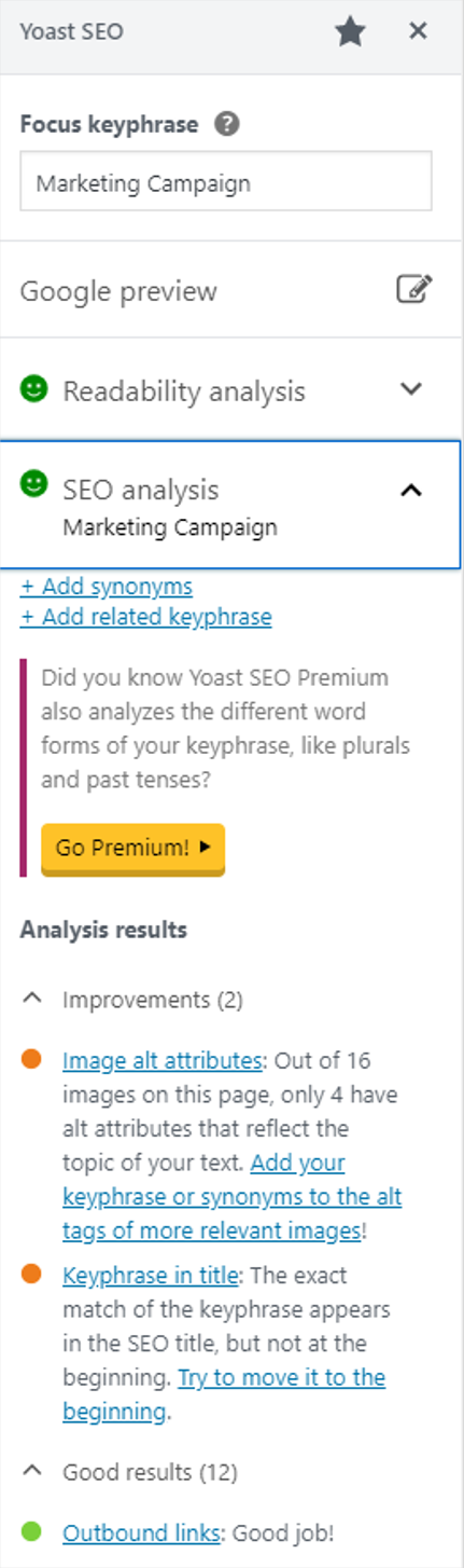 Use the Yoast plugin to help when writing for SEO and trying to improve domain authority