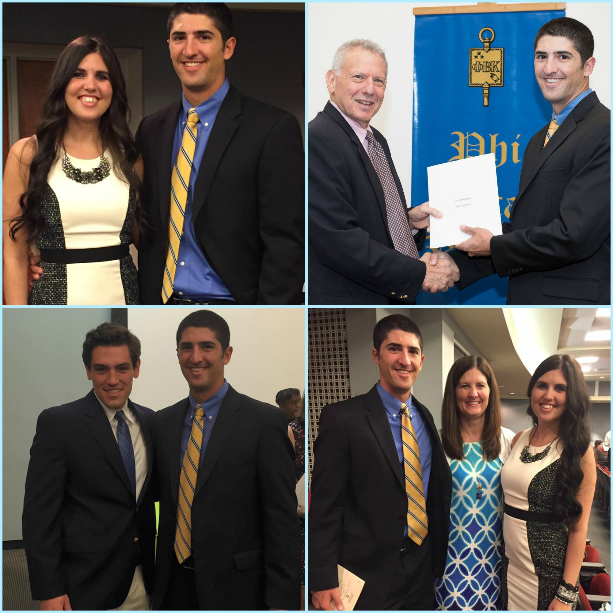 Phi Beta Kappa induction -From top left - David and I, David receiving his PBK certificate, David and his roommate Jack, David, mom and I