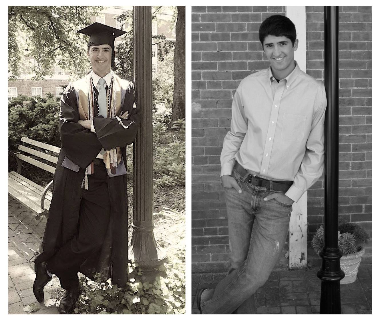 College on the left, high school on the right.
