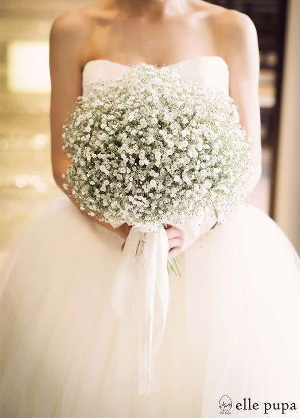 Guesses - $25 - $125    Average - $55    Actual cost - $75    Baby's breath is a relatively inexpensive flower, however this is in a very large quantity. The silk ribbon draping down is a costly addition to this bouquet.