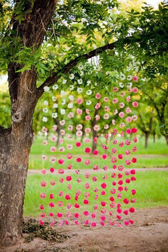 Guesses - $8 - $65    Average - $25    Actual cost - $30 per strand ($360 for the whole backdrop)    These strands take 30-45min each to make, but they make a great backdrop for an indoor or outdoor ceremony.