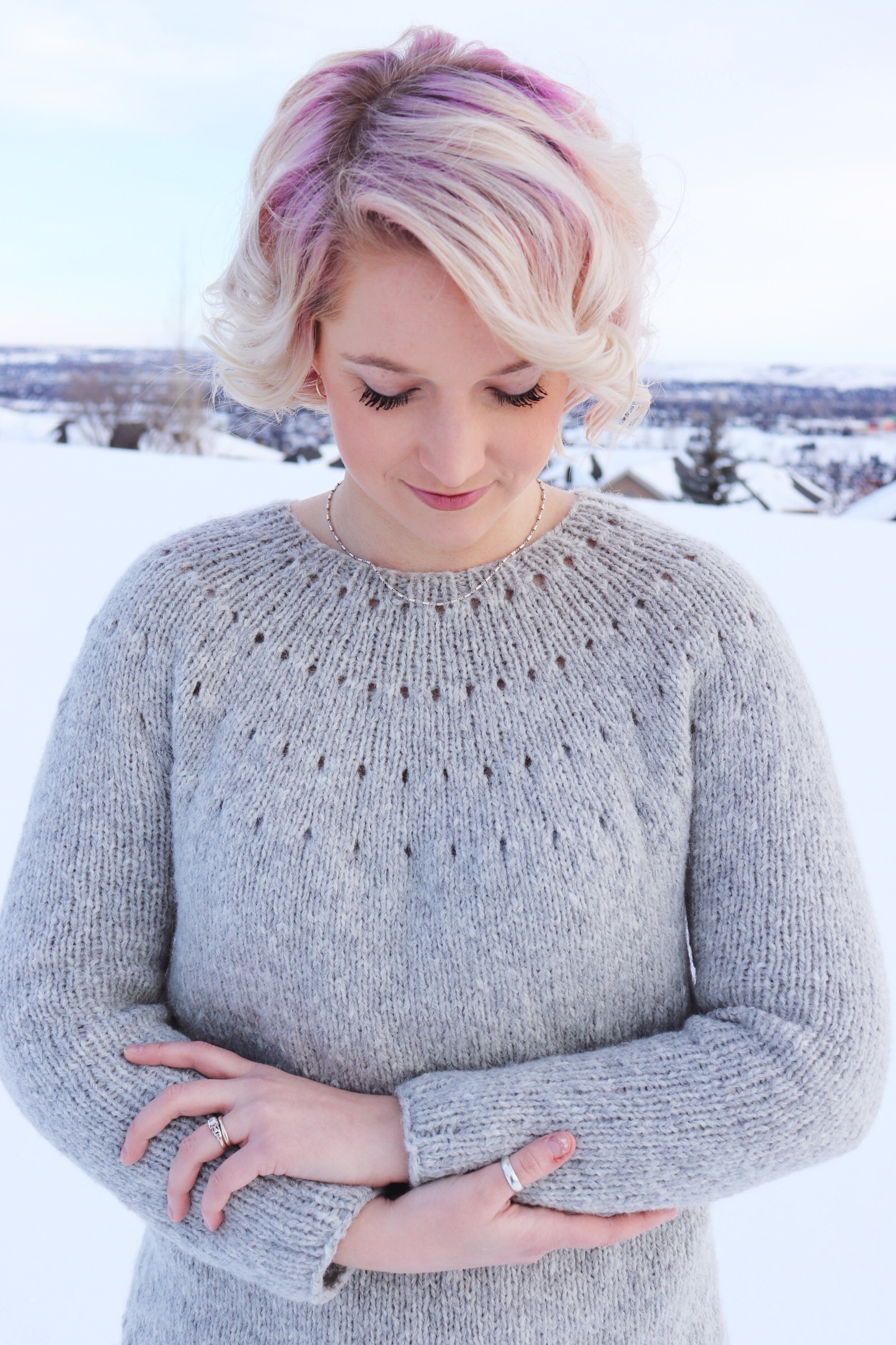 Knitting A Top Down Yoke Sweater The Easy Eyelet Yoke