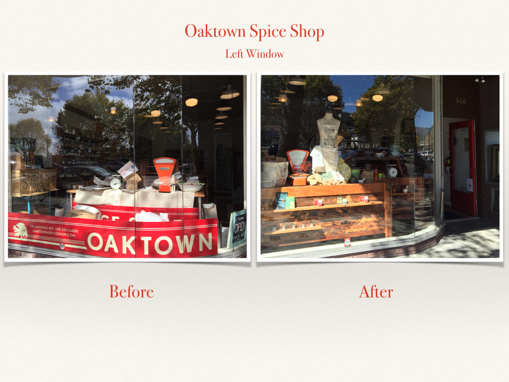Before and After Oaktown Spice Shop Window