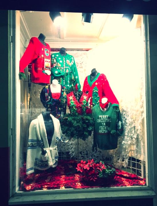 Moon Zooom Ugly Christmas Sweater Window Display