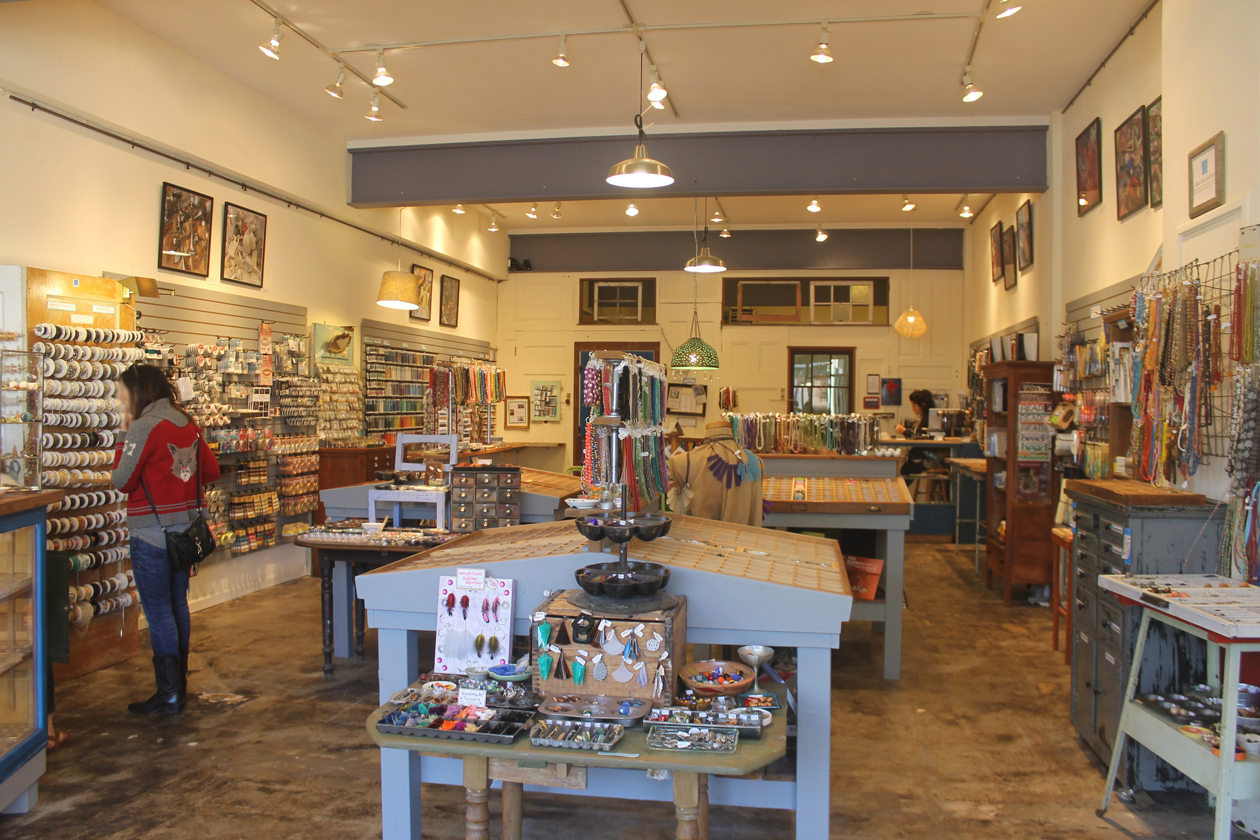 Blue Door Beads' fixture layout makes it easy for customers to navigate through the store.