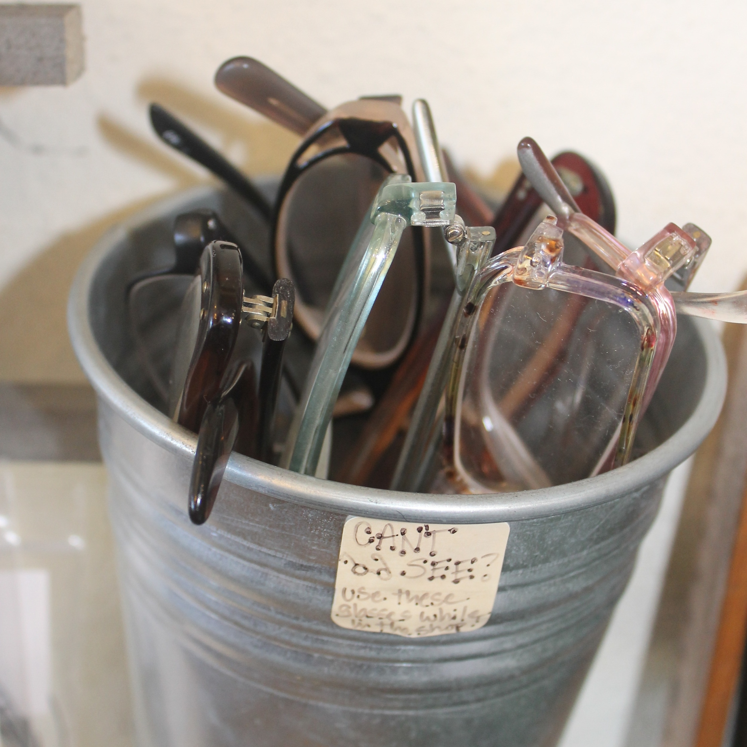 Blue Door Beads provides reading glasses for customers while they shop
