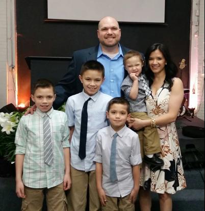 Pastor Jamie, Andrea, Peyton, Ethan, Mason, and Tyson