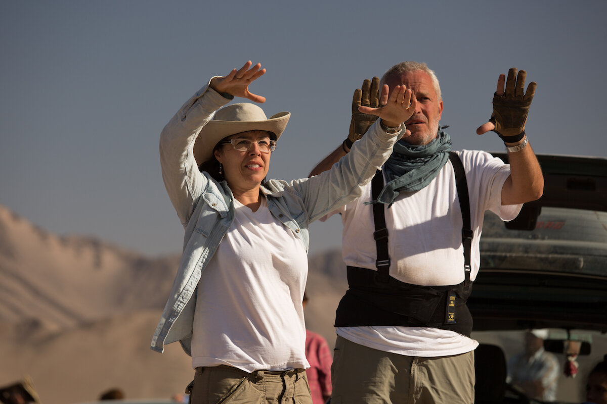 Checco and Director Patricia Riggen on the set of The 33