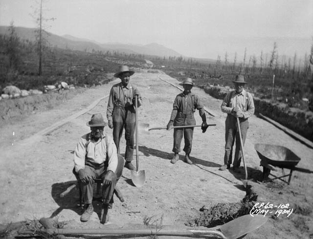 (Relief Projects - No. 62). Road construction at Kimberly-Wasa, British Columbia May 1934. Source: Wikimedia Commons