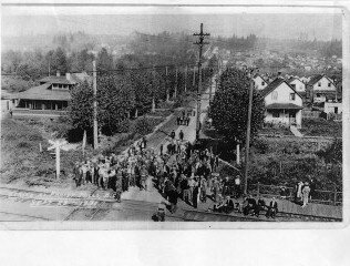 Demonstration on King Edward Avenue, 1931.