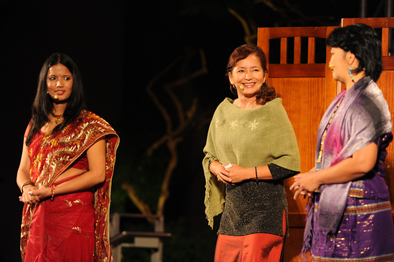 Nan's  WorldPulse.com  clients take the stage at TEDwomen: Sunita Basnet of Nepal, Jacqueline Patiño of Bolivia, and Malaypinas of The Philippines. Photo: James Duncan Davidson/TED