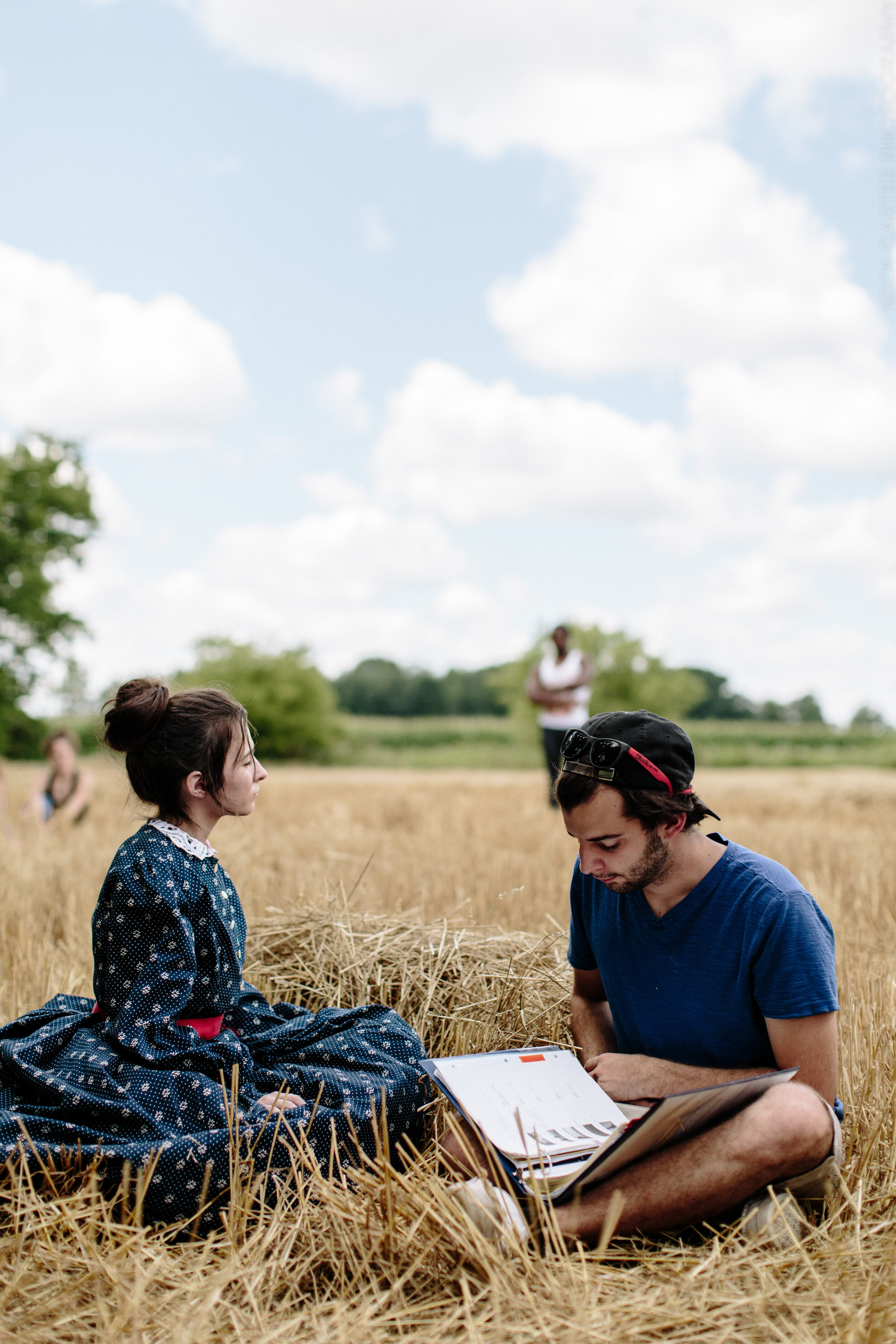 Directing Actress Leah Ruff on set 'AKOMA'