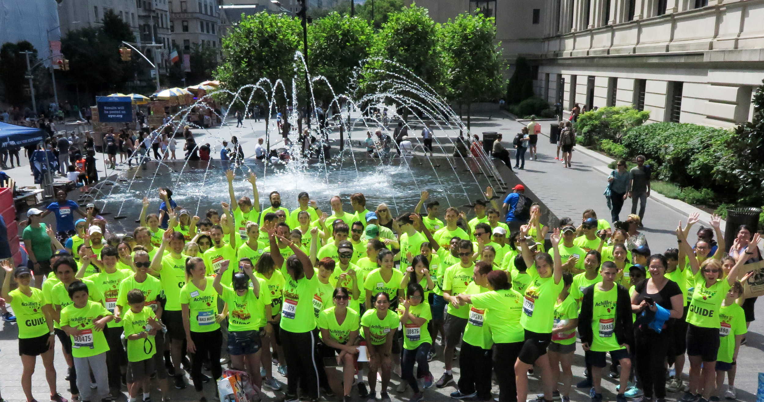 Above: Three cheers for Achilles Kids and their guides as they get ready to run the 2019 New Balance 5th Avenue Mile.