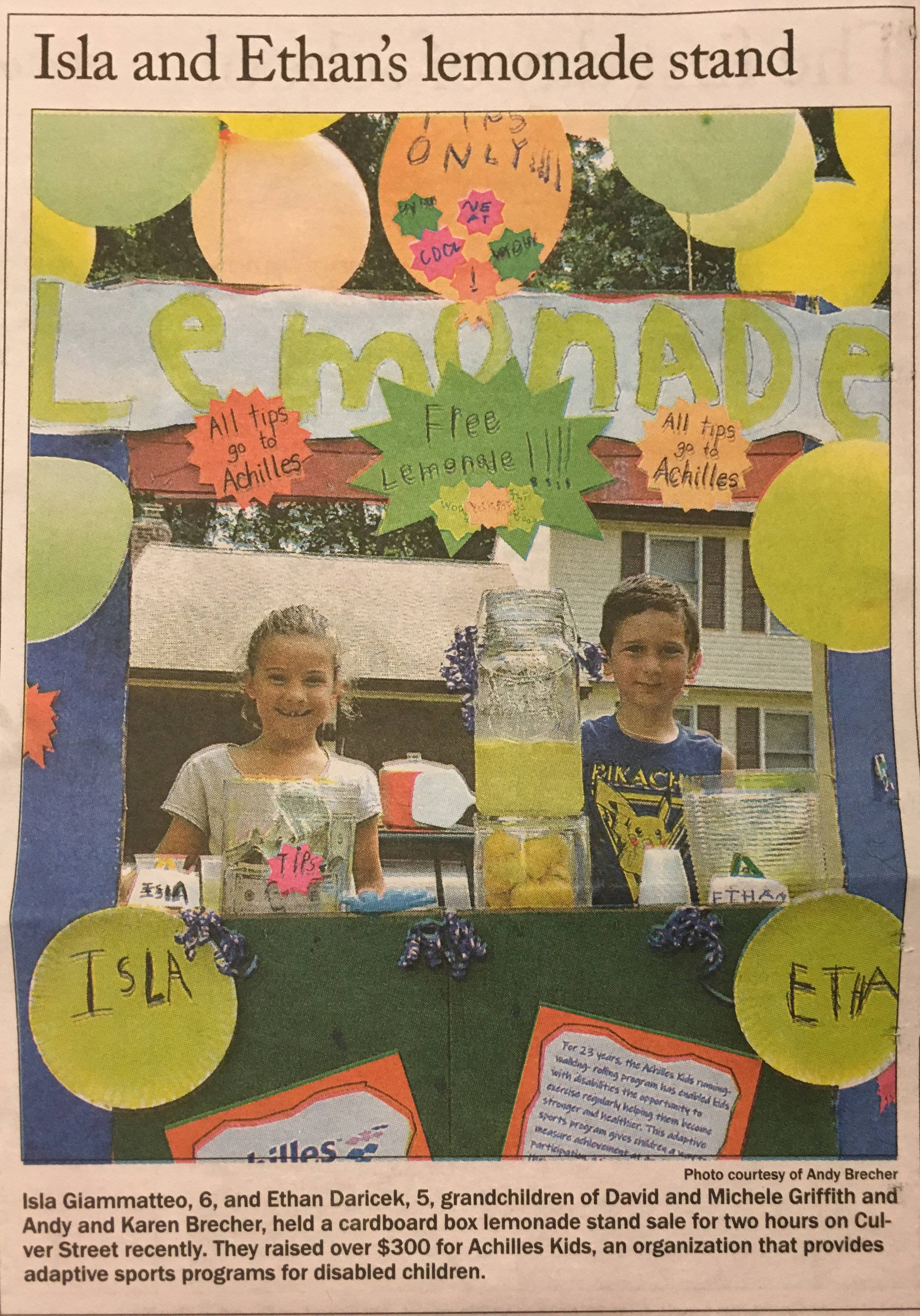 Isla and Ethan's Lemonade Stand for Achilles Kids