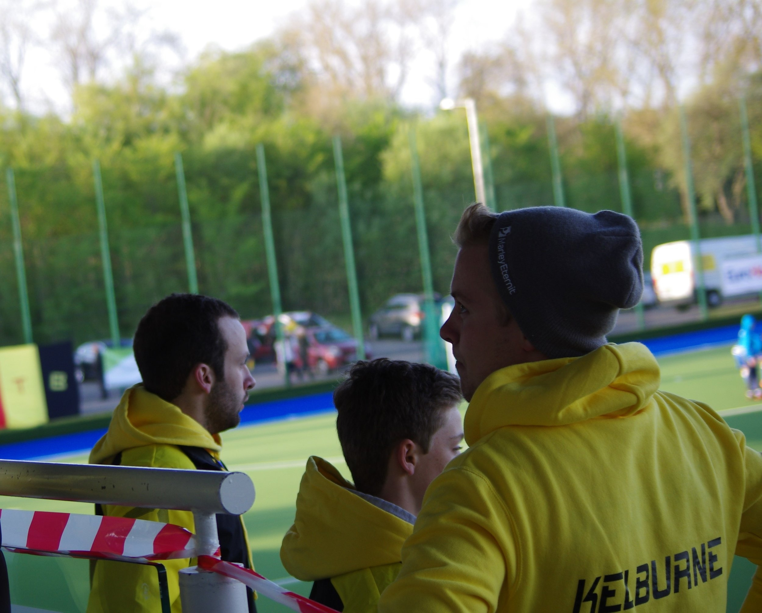 Hamish (left) at the Euro Hockey Club Championships on the PA System Stand!