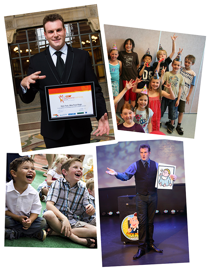 Montage of photographs of Auckland magician Mick Peck's birthday and family magic shows and the Awesome Service Award
