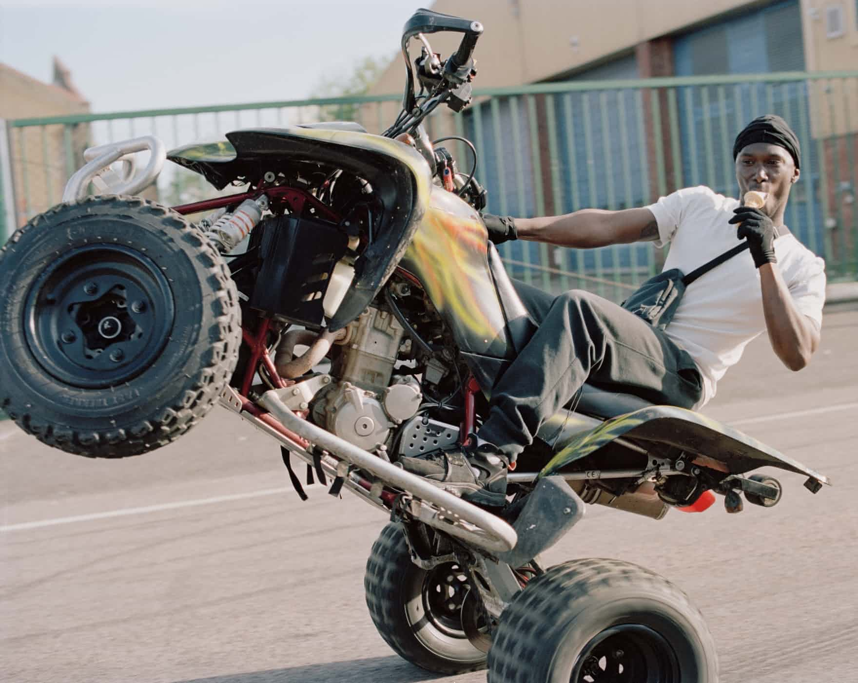 - Mr Figo wheelie-ing his quad in Croydon, eating a 99 ice-creamPhotographer Spencer Murphy has documented a proud and noisy subculture: BikeLife, where riders congregate to pull tricks and indulge their need for speed. He introduces each of the images: 'What drew me to this unique subculture was the dynamism and the style. It seemed to reflect the rebellious draw that skateboarding had for me as a teenager. The people and the sense of community held my interest and kept me going back.'Urban Dirt Bikersby Spencer Murphy is published by Hoxton Mini Press. All photographs: Spencer Murphy