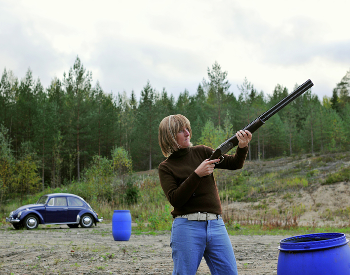 'Fig. 019KI (TM) Father and son clay pigeon shooting day at Särkikangas sandpit. 1975 / 2015 Mänttä, Finland' from 'Ten People in a Suitcase'