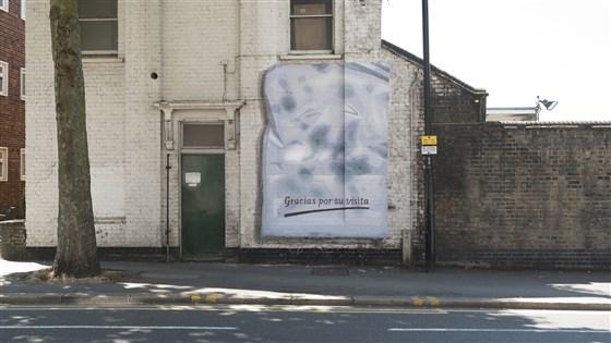 """""""Gracias por su visita"""" or """"Thank you for your visit"""" is a mural by Spanish street artist Ampparito.Doug Gillen"""