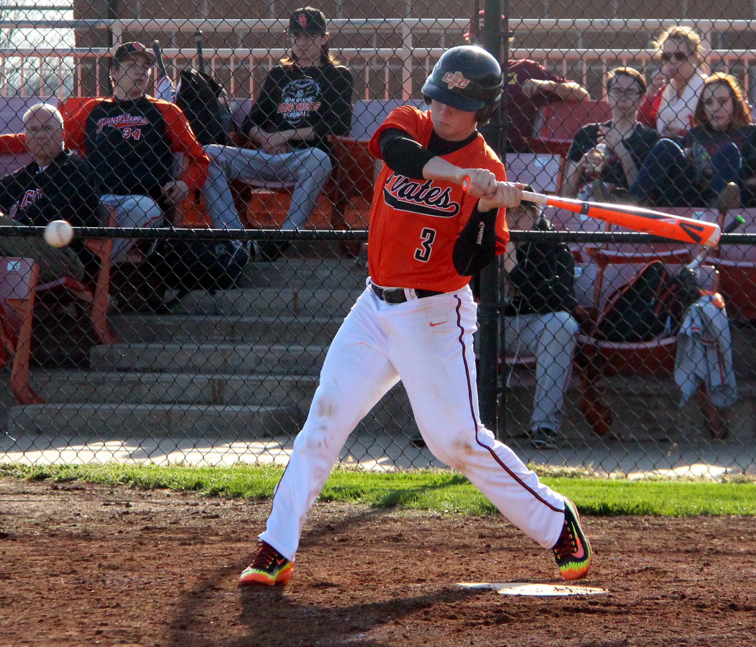 ROSS MARTIN/Citizen photo Platte County outfielder Dillon Doll takes a swing at a pitch against Oak Grove on Monday, March 28 at Platte County High School.