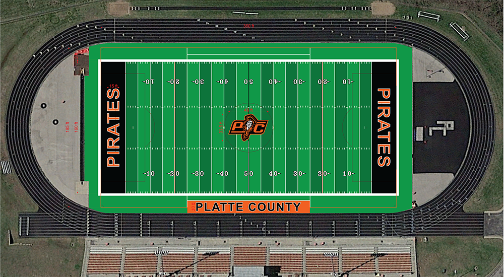 Submitted graphic This digital rendering shows the proposed design of a new artificial surface to be installed at Pirate Stadium in Platte City. The district is slated to spend more than $400,000 on the project.